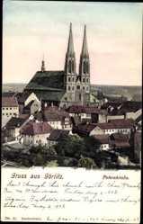 Postcard Görlitz in der Lausitz, Blick auf den Ort und die Peterskirche, Häuser