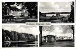 Postcard Lütjensee in Holstein, DRK Kurheim, Seepartie, Blick auf neue Siedlung
