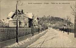 Postcard Augustusburg im Erzgebirge, Partie aus der Villenkolonie, Winter, Schloss