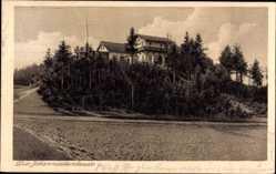 Postcard Oybin in Sachsen, Johannissteinbaude, Inh. E. Schönfelder, Hügel, Wiese