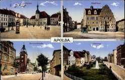 Ak Apolda im Weimarer Land Thüringen, Marktplatz, Stadthaus, Bahnhofstraße