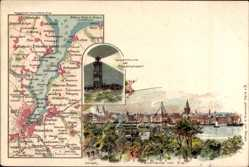 Landkarten Litho Kiel, Friedrichsort, Gaarden, Innenstadt, Leuchtturm