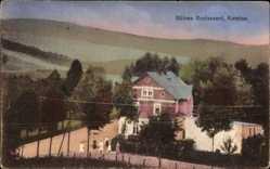 Postcard Kemtau Burkhardtsdorf im Erzgebirge, Böhms Wirtshaus, Passanten