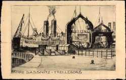 Postcard Sassnitz auf der Insel Rügen, Fähren, Trelleborg, Schornsteine, Radierung