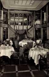Postcard Dampfer MS Caribia, Speisesaal des Dampfers, HAPAG