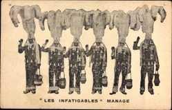 Ak Les Infatigables, Manage, Zirkusdarsteller, Kostüme, Federhüte