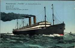 Postcard Dampfschiff Amerika, HAPAG, Riesendampfer in Fahrt