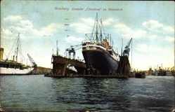 Postcard Hamburger Hafen, Dampfschiff Cleveland im Riesendock, HAPAG