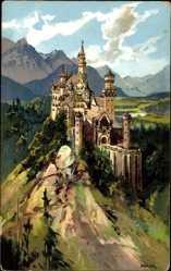 Künstler Ak Heinisch, Schwangau, Blick auf das Schloss, Schloss Neuschwanstein