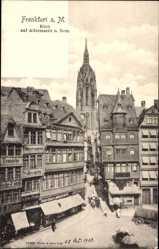 Postcard Frankfurt am Main, Stadtansicht, Alter Markt, Dom, Straßenpartie