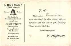 Postcard Fürth in Mittelfranken Bayern, Mechanische Gummiweberei, Inh. J. Heymann