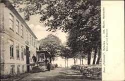 Postcard Schulau Wedel, Pension Zum Parnass, Inh. H. Heinsohn, Elbstrom