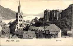 Postcard Bacharach am Rhein, Blick über die Dächer auf die Wernerkapelle