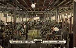 Ak Leipzig in Sachsen, Maschinenfabrik Karl Krause, Vergoldepressen Montage