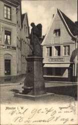 Postcard Münster in Westfalen, Blick auf den Kiepenkerl, Schweinemetzgerei F. Wielers