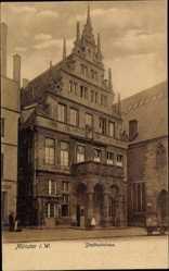 Postcard Münster in Westfalen, Blick auf das Stadtweinhaus, Giebel, Balkon