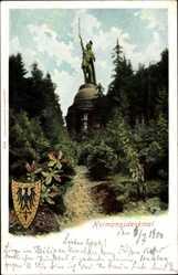 Wappen Ak Detmold Nordrhein Westfalen, Blick auf das Hermannsdenkmal