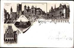 Litho Münster in Westfalen, Lambertikirche am Markt, Post, Dom, Rathaus, Schloss