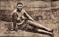 Ak Südafrika, Zulu Girl, Afrikanerin, Barbusig, South Africa