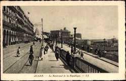 Ak Alger Algerien, Le Boulevard de la République, Straßenpartie