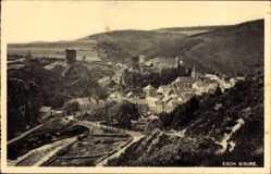 Postcard Esch Sauer Luxemburg, Panorama der Ortschaft, Burgruine