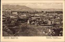 Postcard Jericho Palästina, Gesamtansicht der Ortschaft, Einfache Hütten