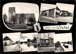 Wappen Ak Recke Westfalen, Ev. Kirche, Overbergschule, Markt, Krieger Ehrenmal