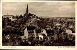 Postcard Halle an der Saale Crollwitz, Blick auf den Ort, Kirchturm, Häuser