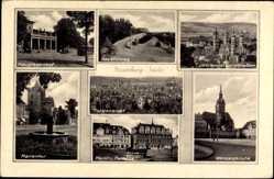 Postcard Naumburg Saale, Hauptbahnhof, Bauernweg, Wenzelskirche, Markt, Rathaus