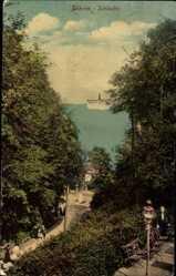 Ak Ostseebad Göhren auf Rügen, Schlucht, Dampfschiff, Meerpartie, Terrasse
