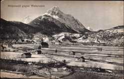 Postcard Mittenwald im Kreis Garmisch Partenkirchen, Blick gegen Wetterstein, Häuser
