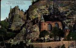 Postcard Idar Oberstein an der Nahe, Blick auf Schloss und Felsenkirche