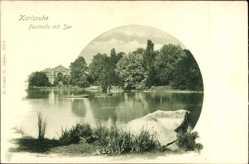 Postcard Karlsruhe in Baden Württemberg, Blick auf die Festhalle mit See