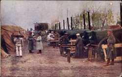 Ak Erster Weltkrieg, Soldaten, Feldküche, Brotbacköfen