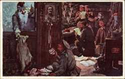 Postcard Glückwunsch Weihnachten, Soldaten, Unterstand, Weihnachtsmann