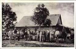 Postcard Brest Litowsk Weißrussland, Dorfbewohner, Bauernhaus