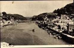 Postcard East Looe South West England, View from West with River Looe