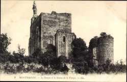 Ak Montbazon Indre et Loire, Le Donjon et la Statue de la Vierge