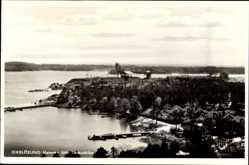 Postcard Oxelösund Schweden, Hamnen fran Lotsutkiken, Ortsansicht