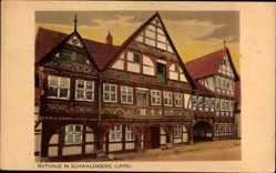 Postcard Schieder Schwalenberg im Kreis Lippe, Rathaus, Fachwerk, Straßenpartie