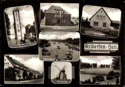 Postcard Anderten Hannover, Stadtansichten, Sparkasse, Spritzenhaus, Kindergarten