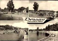 Postcard Dessau Roßlau, Blick auf Strandbad Adria, Rutsche, Besucher, Gebäude