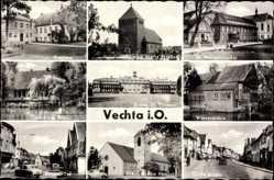 Postcard Vechta in Niedersachsen, Stadtansichten, Rathaus, Kirche, Wassermühle