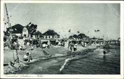 Ak Ostseebad Dahme in Holstein, Strand, Besucher, Meer, Fahnen