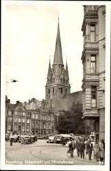 Postcard Flensburg in Schleswig Holstein, Südermarkt und Nicolaikirche, Passanten