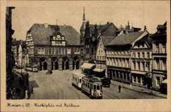 Postcard Minden Westfalen, Marktplatz mit Rathaus, Straßenbahn, Hafel Deutscher Kaiser