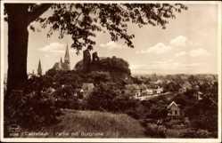 Ak Kastellaun im Rhein Hunsrück Kreis, Partie mit Burgruine, Kirchturm