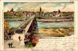 Litho Minden in Ostwestfalen, Parade, Soldaten, Flusspartie, Stadtansicht