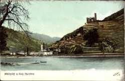 Ak Wellmich St Goarshausen, Blick auf die Burg Thurnberg, Flusspartie, Turm