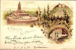 Litho Kyffhäuserland Thüringen, Barbarossa Höhle, Denkmal, Rothenburg